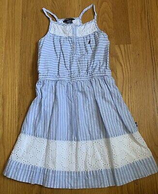 Nautica Girls size 5 Dress Blue White Stripes Spaghetti Straps Lace EUC