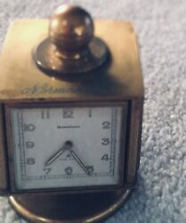 Rare Unique Vintage Desk Brass clock with Hygrometer, Thermometer and Barometer