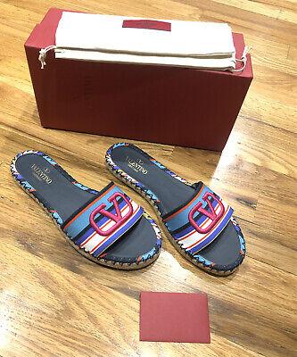 NIB Valentino Garavani Pop Baiadera Espadrille Slide Sandal Shoes Vlogo V 39 / 9