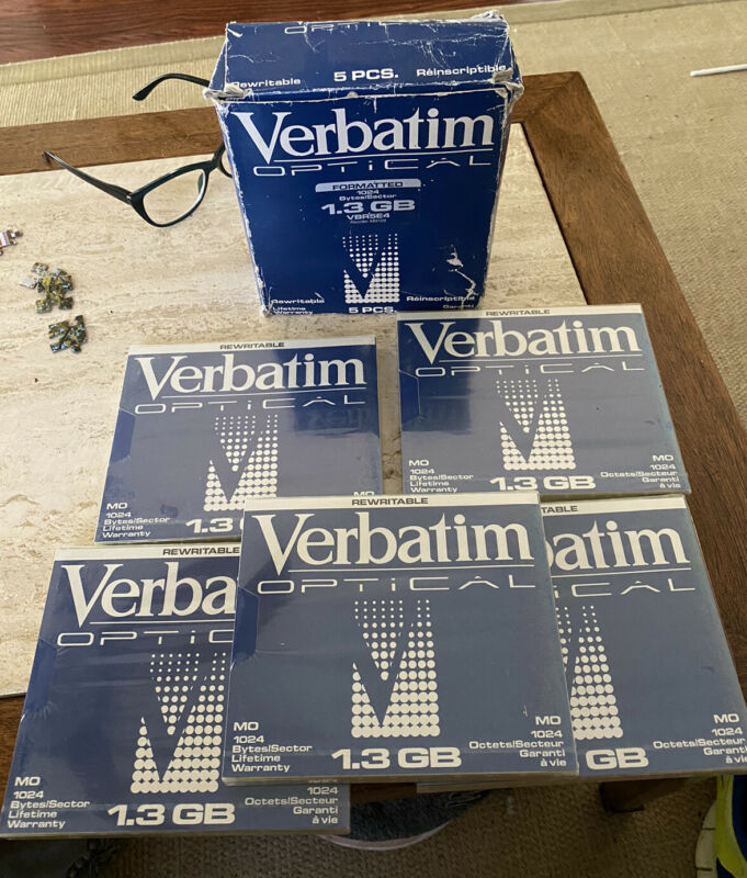 (Lot Of 5)NEW Sealed Verbatim Optical Disc 1.3GB MO 1024 Bytes/Sector ReWritable