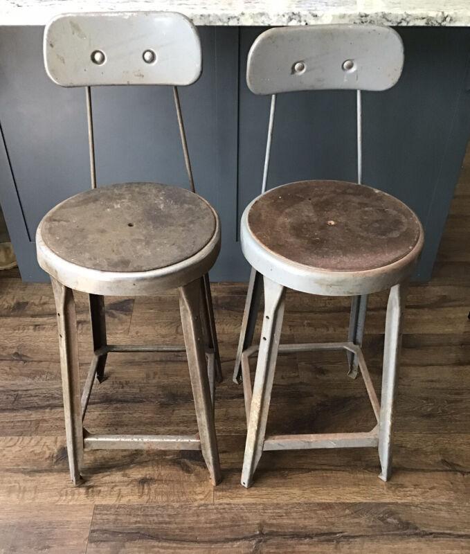 2 Vintage Industrial Seating Metal Drafting Stool Adjustable Factory Shop Chair