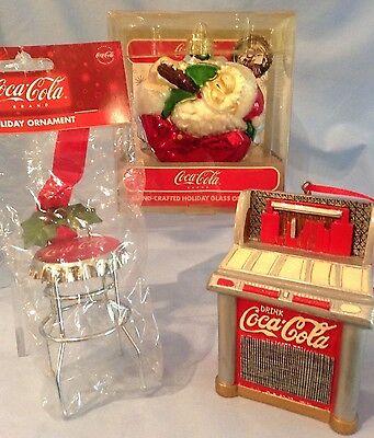 Coca-Cola Ornaments Glass Santa-75th Anniv., Metal Red Jukebox, Stool  Lot/3 $36