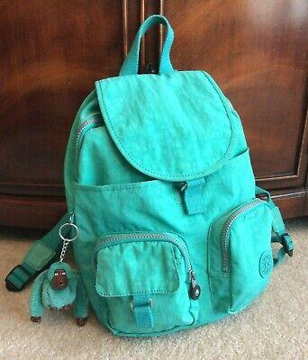 KIPLING Firefly Small Backpack Seafoam Green Nylon Day Pack w/ MONKEY Key Chain