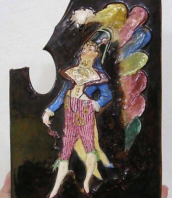 Vtg Planter Figural Painters Palette Signed V. B. Paris Embossed French Nobleman