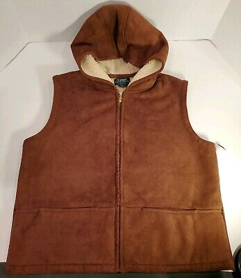 VTG Ralph Lauren Womens Hooded Sherpa Lined Faux Suede Vest Size Petite Large  for sale  Shipping to South Africa