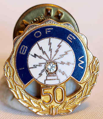 INTERNATIONAL BROTHERHOOD OF ELECTRICAL WORKERS ENAMELED 10KGF DIAMOND 50 YR PIN