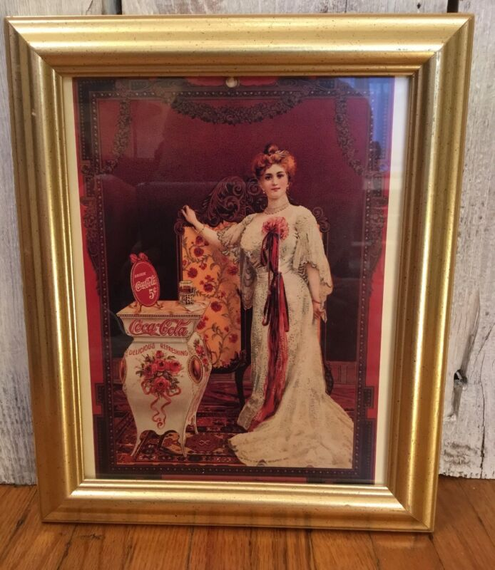 FRAMED VINTAGE COCA COLA AD REPRODUCTION PRINT 1900s Victorian Edwardian woman
