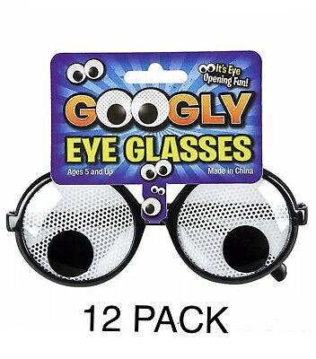 12 Pack - GOOGLY EYE NOVELTY GLASSES Kids or Adults Classic Prank Costume