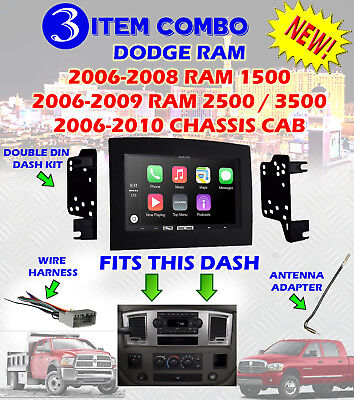 06 07 08 09 10 DODGE RAM CAR STEREO RADIO DOUBLE DIN INSTALLATION DASH PANEL KIT