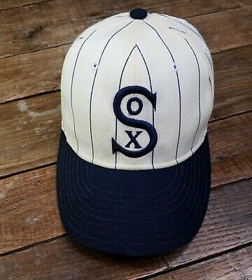 Vintage New Era White Sox Cooperstown Collection Pinstripe Wool Fitted Hat Sz 7 Chicago White Sox Cooperstown Wool