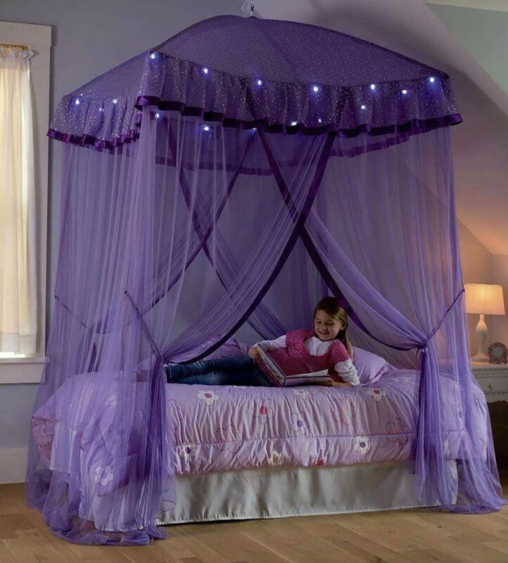 Sparkling Lights Kids Girls Princess Children Bedroom Hanging Bed Decor Canopy