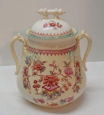 Porcelain Jar with Bar Lid with Tassle Accent Handles Flowers Vintage