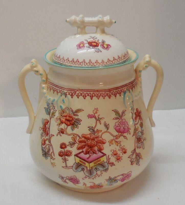 Jar with Bar Lid Tassle Accent Handles Flowers Porcelain Vintage
