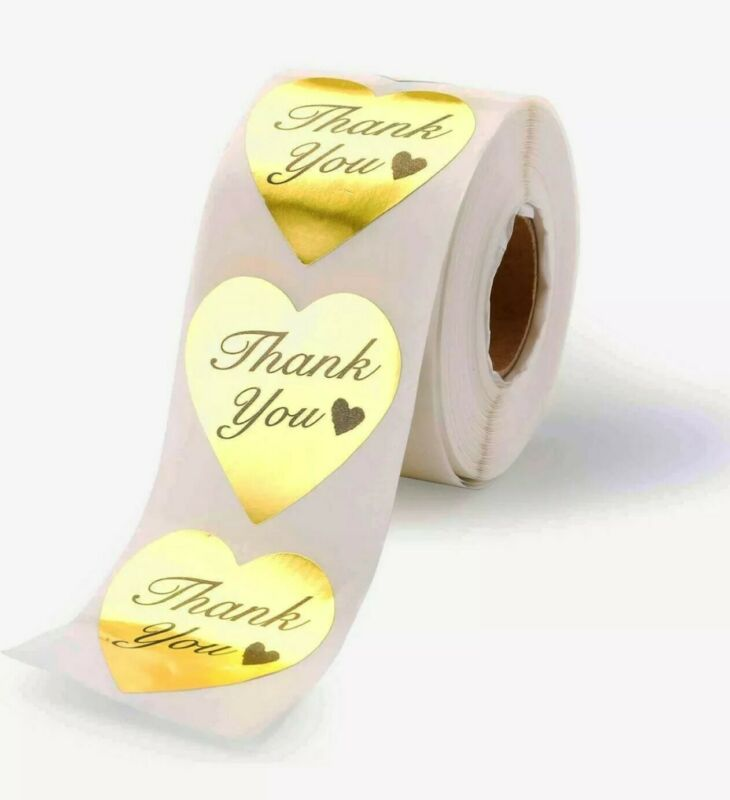 """100 Pcs Thank You Stickers 1.5"""" Labels Gold Foil Heart Shaped Shipping Stickers"""