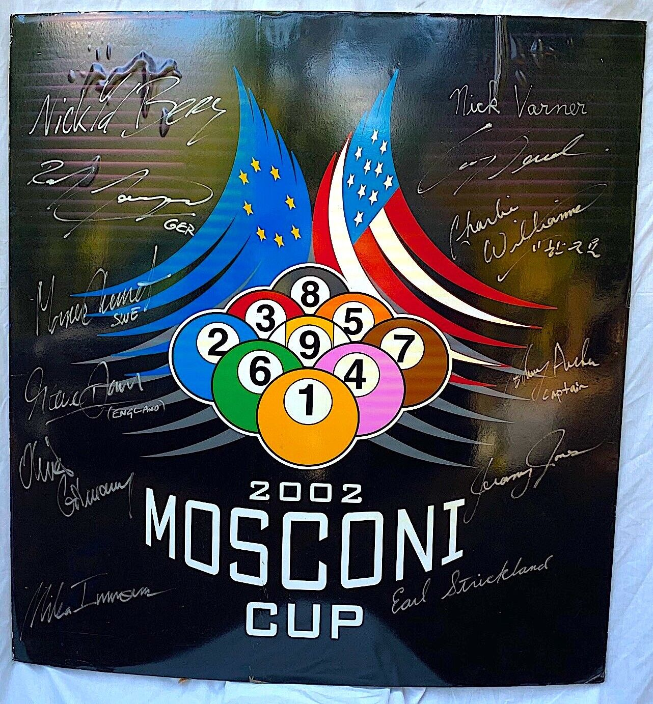 9th Ladbrookes.com Mosconi Cup 2002 Signed Poster and Programme Pool Premier Team