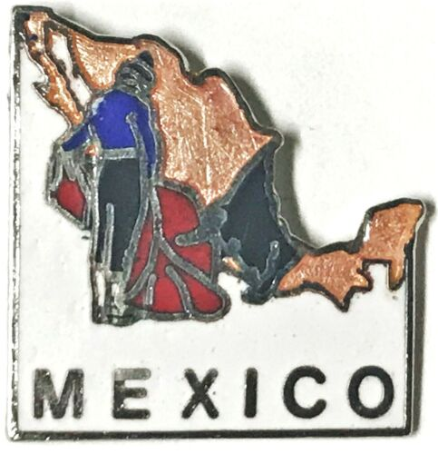 Vtg Travel Souvenir Pin Mexico Country Map Bull Fighter Hat Lapel Jacket Mafco