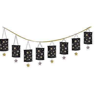 Hollywood Movie Stars Party Black Silver Gold Paper Lantern Garland Decorations (Silver Stars Decorations)