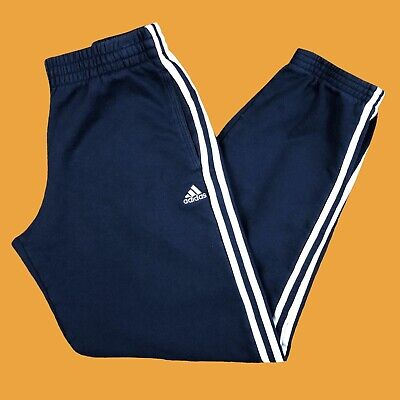 Adidas navy joggers with white stripes down the sides size S
