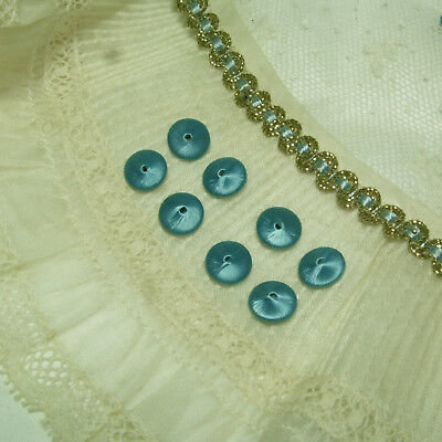 AUTHENTIC antique vtg small french doll dress / shoe button beads teal baby blue