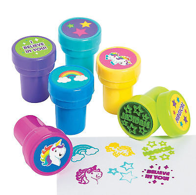 24 Unicorn Stampers Self-Inking Rainbow Toys Prizes Kid's Birthday Party Favors - Child Party Favors