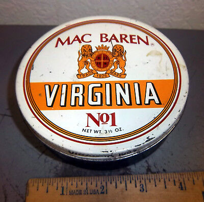 Used, Vintage Mac Baren Virginia no 1 Tobacco tin, great colors & graphics, empty for sale  North Pole