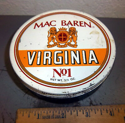 Vintage Mac Baren Virginia no 1 Tobacco tin, great colors & graphics, empty for sale  North Pole