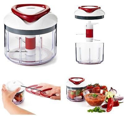 Zyliss Easy Pull Manual Food Processor Chopper Mixer Blender Red