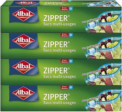 Albal 8 Sacs Multi-Usages, Curseur Zipper, Hermétique, Lot de 4 Boîtes, 3...