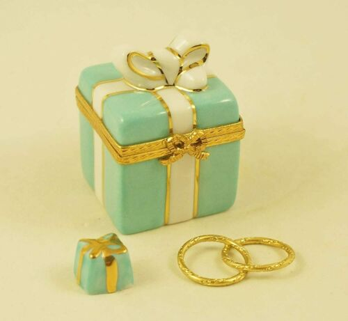 New French Limoges Trinket Box Turquoise Gift Box with Removable Gift and Rings