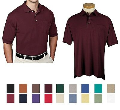 MENS RELAXED FIT, SHORT SLEEVE COTTON/POLY PIQUE POLO SHIRT, POCKET TALL (Tall Pique Polo)