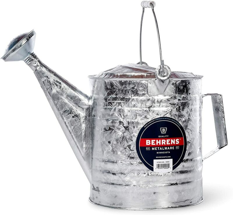 Old-Fashioned Nostalgic Galvanized Heavy Gauge Steel Watering Can 10 Quart