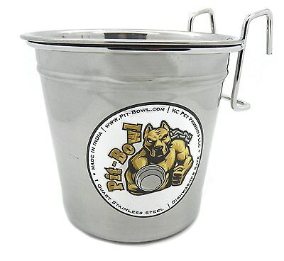 1 Pit-Bowl Stainless steel, Hook-On Dog water crate bowl (1 to 1.5 quart)