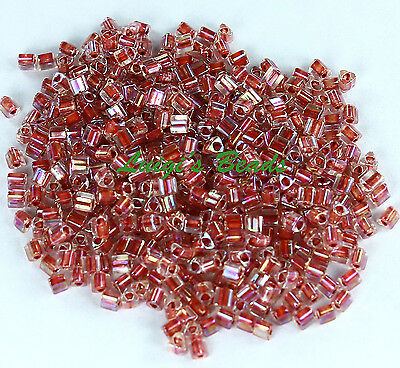 11/0 Triangle TOHO Glass Seed Bead #784- Rainbow Crystal/Sandstone Lined 15g
