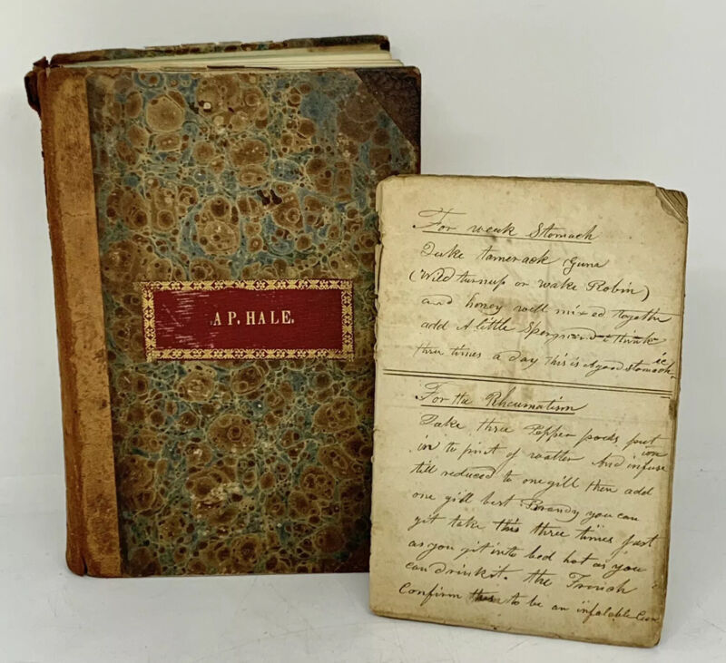 Handwritten Herbal Medical Recipe Journal Dr. Austin Pratt Hale Adams Center, NY