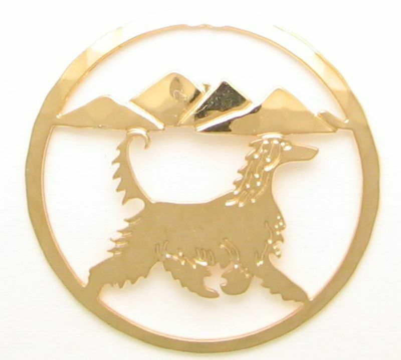 Afghan Hound Jewelry Gold Pin by Touchstone Dog Designs