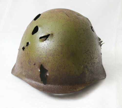 Vintage Battle-Damaged Russian Soviet Infantry Helmet Stalingrad battle orig ww2