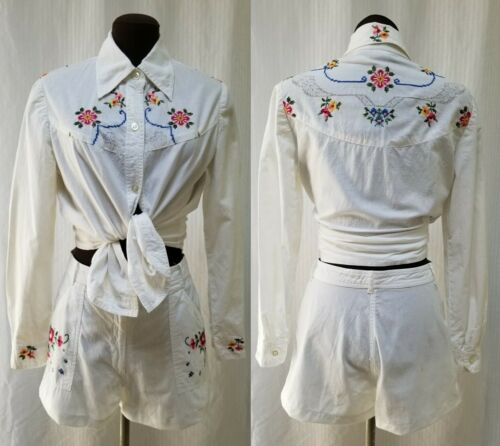 2 Piece Vintage BONWIT TELLER Embroidered TOP & SHORTS - Size S/M