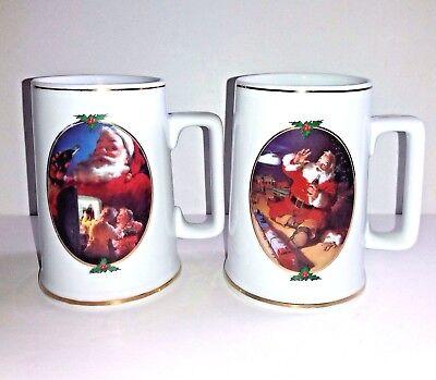 Coca Cola Christmas Mugs For Santa and Season's Greetings Vintage 1996 Lot of 2