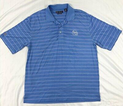 Oxford Golf Polo Shirt Super Dry Coolmax Blue Striped St Jude Classic Mens Large Mens Oxford Golf Shirt