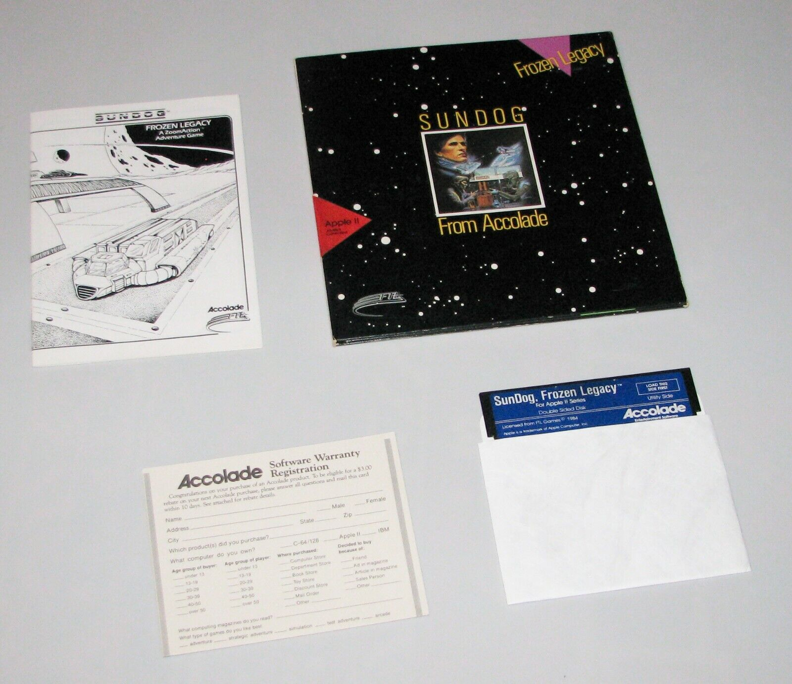 Computer Games - SUNDOG Apple 2 vintage computer game by ACCOLADE (USED/ AS IS)