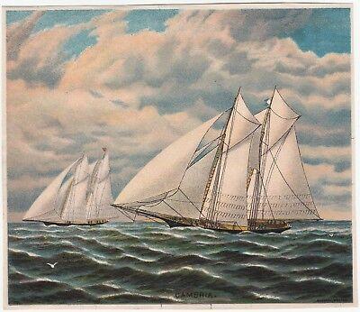 RARE Original Lithograph Print- Sailboat Cambria Schooner 1880s by Bufford