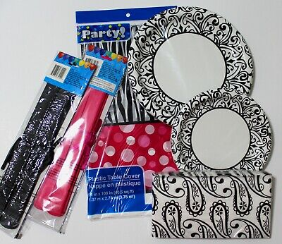 6 Piece SET - Black/White Damask/Zebra Stripe/Hot Pink PARTY *NEW* FREE SHIPPING - Pink And Black Damask Party Supplies