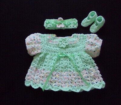 Green Girl Dresses (crocheted green baby girl dress headband and mary janes handmade 3-6)