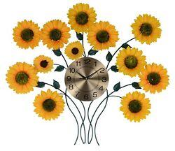 Large Sunflower Metal Wall Clock