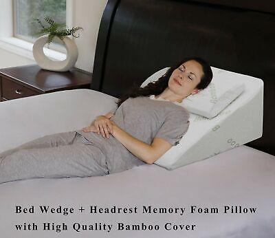 "InteVision Foam Bed Wedge Pillow  - 2"" Memory Foam Top Layer"