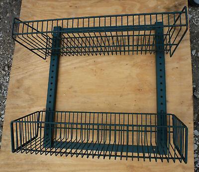 Wall Mount Wire Rack Basket Shelves 2 Tier Pegboard Display Merchandise Snack