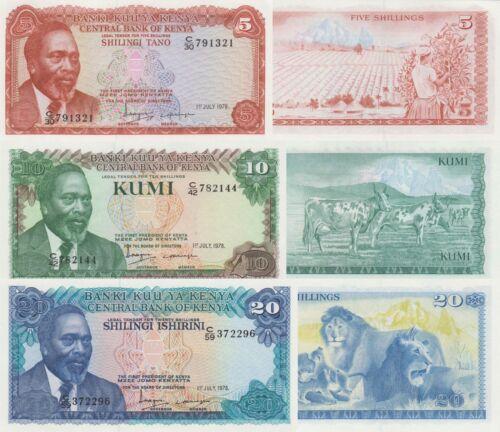 Kenya 3 Note Set: 5 to 20 Shillings (1.7.1978) - p15, p16, p17 UNC
