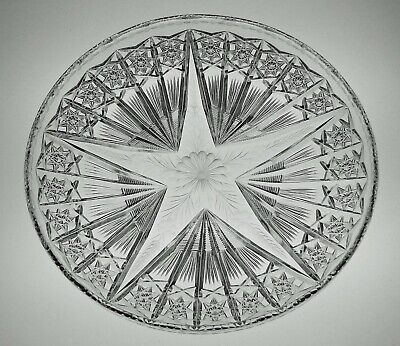 ABP CUT GLASS CRYSTAL FRISBEE STYLE TRAY SIGNED TUTHILL