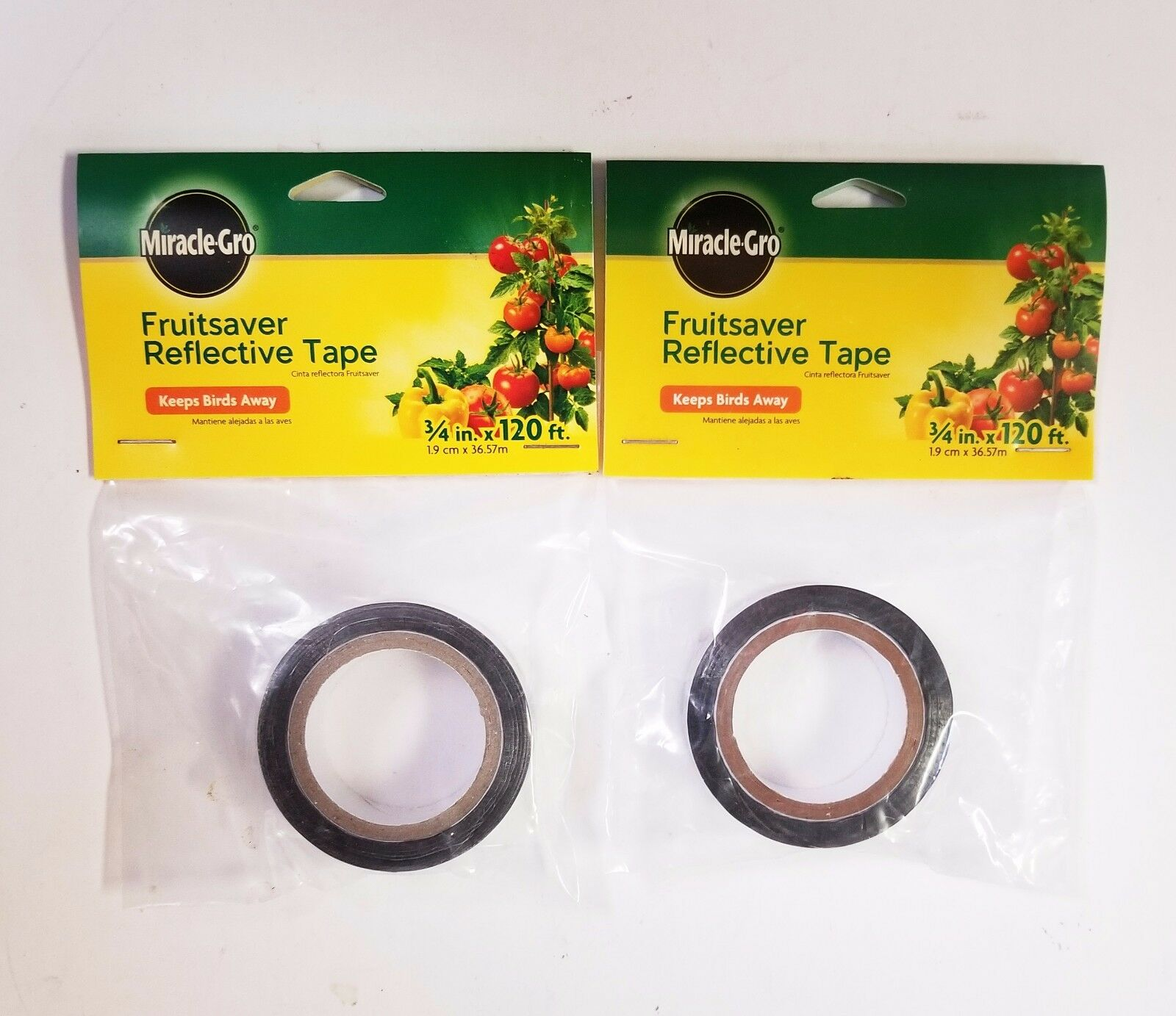 """Miracle Gro Fruit saver Reflective Tape *2 PACK* 3/4"""" x 120'"""