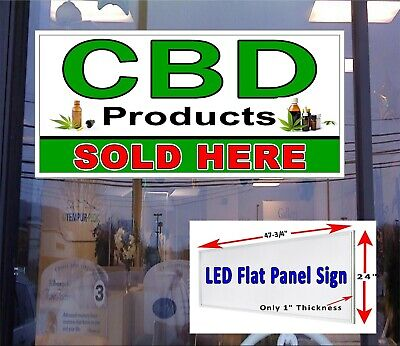 Cbd Products Sold Here Led Flat Panel Light Box Window Sign 48x24